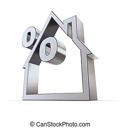 Percent Symbol in a House - metallic outline of a house on...