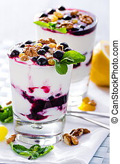 cream dessert with black currants - cream dessert with...