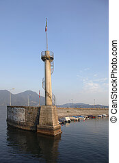 Pier and lighthouse in the port