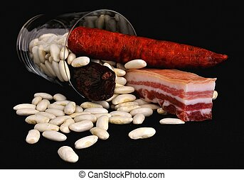 Asturian bean stew. - Preparing an Asturian bean stew.