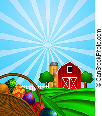 Easter Eggs Basket with Red Barn on Green Pasture