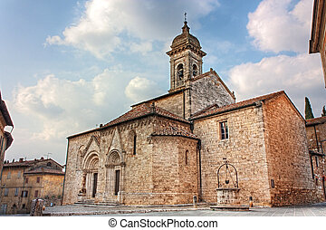 cathedral of San Quirico d'Orcia - medieval catholic church...