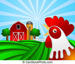 Rooster on Green Pasture with Red Barn with Grain Silo