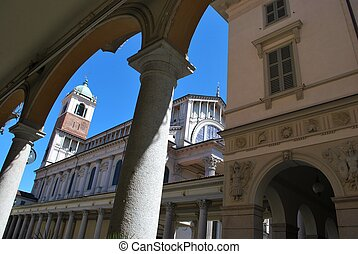 Cathedral square, Novara - Ancient arched portico and...