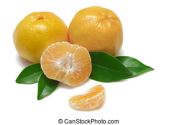 Mandarins - Mandarin Oranges (Imperial) with leaves on white...