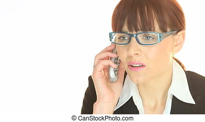 Phone Call Bad News - An attractive woman with a distressed...