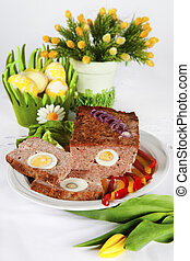 Meat loaf - tradditional easter meat loaf with egg on the...