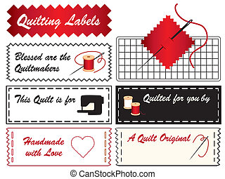 Quilting Labels - Sewing labels with needle, thread, sewing...
