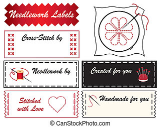 Needlework Labels - Sewing labels with embroidery hoop,...