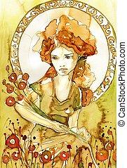 art nouveau portrait - Stock Photo: Illustration of a...
