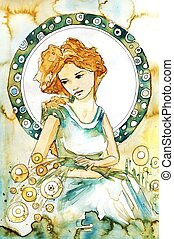 art nouveau portrait - Stock Photo: Illustration of a...