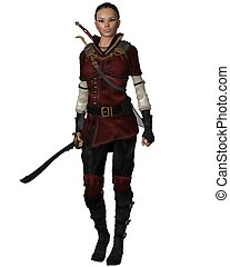 Female Warrior in Leather Armour - Lightly armoured female...