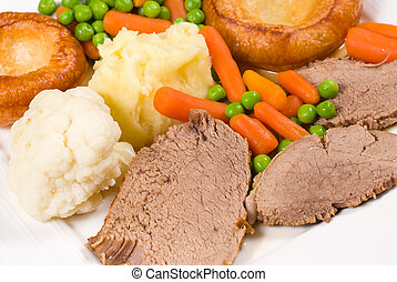 Sunday lunch - Roast beef, vegetables and Yorkshire pudding