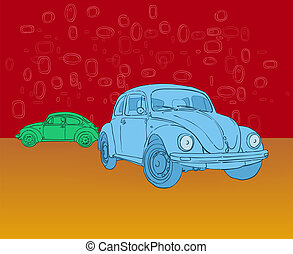 Beetle Hippies Car Illustration - Blue and Green Illustrated...