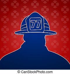 Fireman Symbols - American fireman symbol with red and blue...