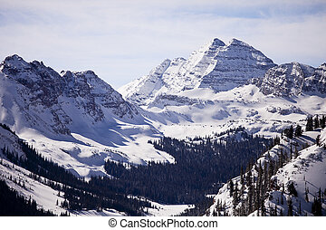 Maroon Bells In Winter - A winter view of the Maroon Bells...