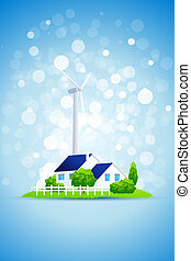 Blue Background with Country House and Power Station - Blue...