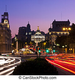 CAlle de Alcala street in Madrid, Spain. - Rays of traffic...
