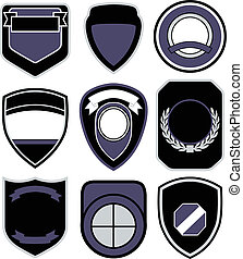 badge shield symbol set