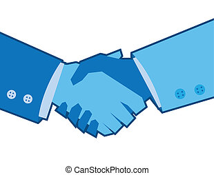Blue Handshake  - Two blue colored hands shaking
