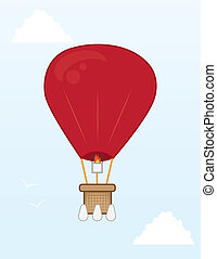 Hot Air Balloon  - Hot air balloon flying in the sky