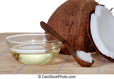 Coconut Oil - Coconut oil on a bamboo mat