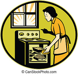 Housewife Baking Bread Pastry Dish Oven Retro - Illustration...