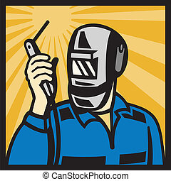 Welder With Welding Torch Visor Retro - Illustration of a...