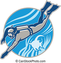 Scuba Diver Diving Retro - Illustration of a scuba diver...