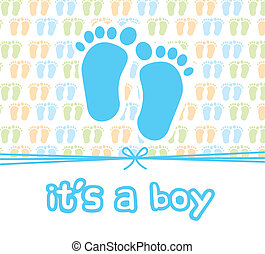 it is a boy card with footprint, baby shower. vector...