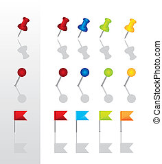 push pin collection with shadow. vector illustration