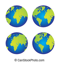 earth vector - four earth isolated over white background....