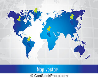 map vector - blue map with push pin over silver background...