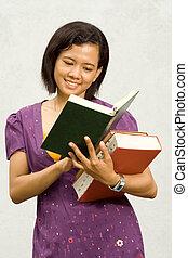 Ethnic student open literature - Asian ethnic female college...