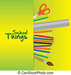 School things, useful school over green background. vector