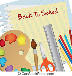 Back to school set - Useful school over green background...