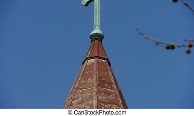 Qingdao Catholic Church's Cross and building scenery.