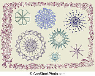 frame with foliate ornament doodles arabesques