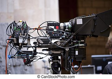 3-D Camera - Television camera recording a scene from a...