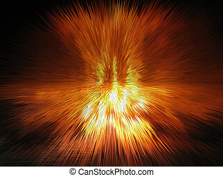 Multi-coloured explosion in space