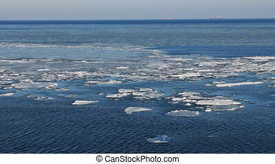 Floe drifting in winter  sea