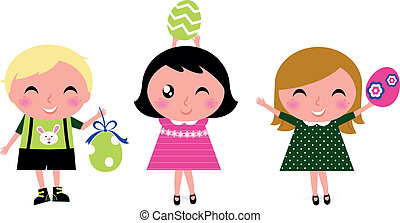 Cute retro easter kids with eggs isolated on white - Happy...