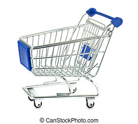 Single metal shopping cart isolated on white background