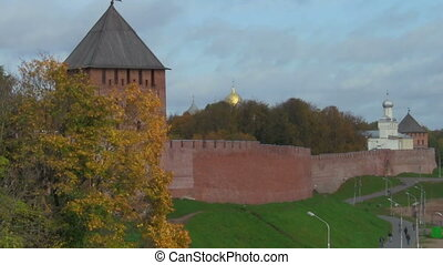 wall - part of the Kremlin in Veliky Novgorod, Russia