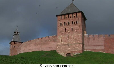 towers - part of the Kremlin in Veliky Novgorod, Russia