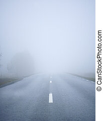 Fog Road - Road with fog in the morning