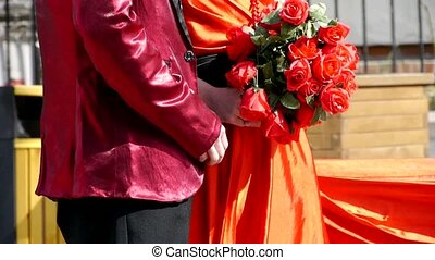 Groom and bride together,Bride wearing a red wedding...