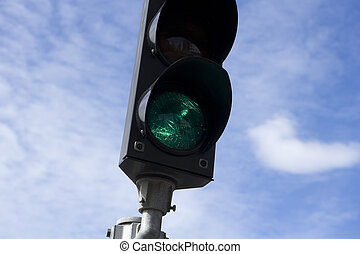 Green Light - Green Traffic Light towards blue sky