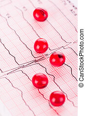 Cardiology. Macro of ECG graph and cardio pills