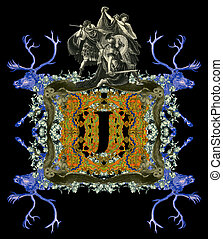 Letter J. - Luxurious Victorian initials letter J, after a...